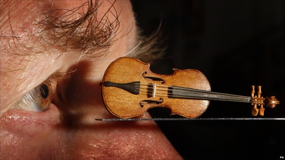 David Edwards and his miniature violin