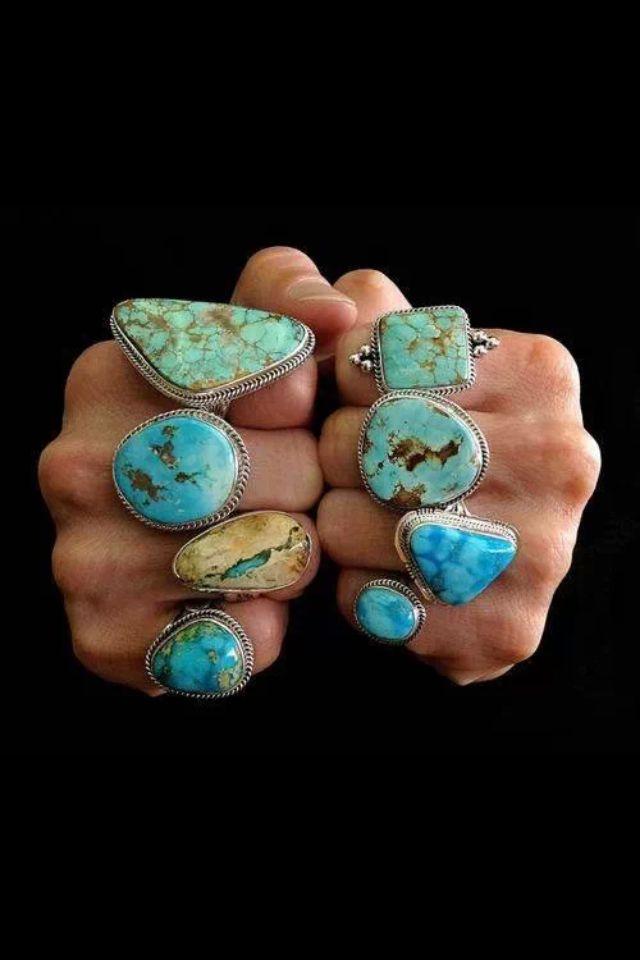 bijoux : bagues, pierres, turquoise, bleu, style ethnique