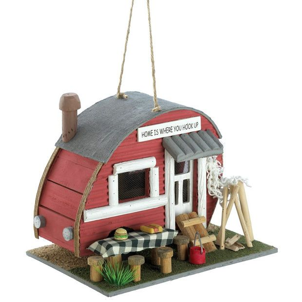 VINTAGE TRAILER BIRDHOUSE Create a comfy campground for your fly-in guests with this cozy little trailer! Comical birdhouse comes complete with all the accessories of an old-time outdoor paradise. $19.95, my favourite birdhouse to date, I think....