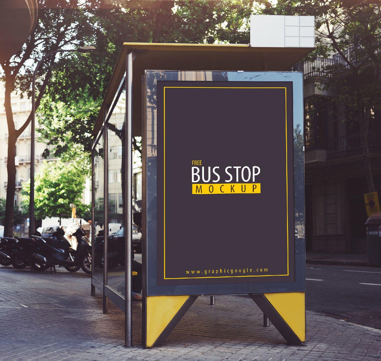 Free Bus Stop Mockup Free Mockup Outdoor Advertising Mockup Bus Stop Bus Stop Advertising