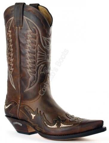 ce596e0716c Bota cowboy Sendra unisex piel engrasada marrón combinada | WESTERN ...