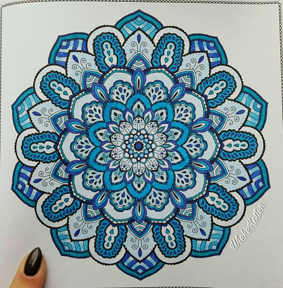 Mandala blue tones colored finished  Mandala coloring pages