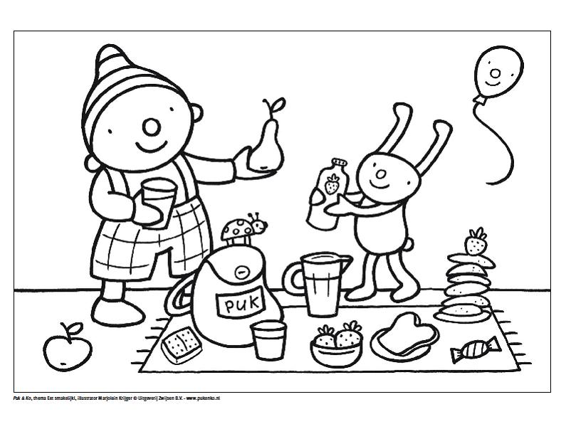 uk en puk picknick kleurplaat peuter thema thema