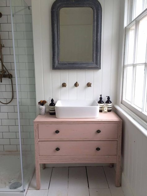 Makeover Turning A Chest Of Drawers Into A Bathroom Sink Unit Roses And Rolltops Bathroom Cabinet Makeover Bathroom Sink Units Trendy Bathroom