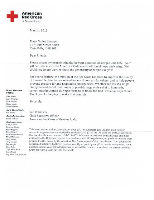 American Red Cross Thank You Letter For Their Donated Storage Unit