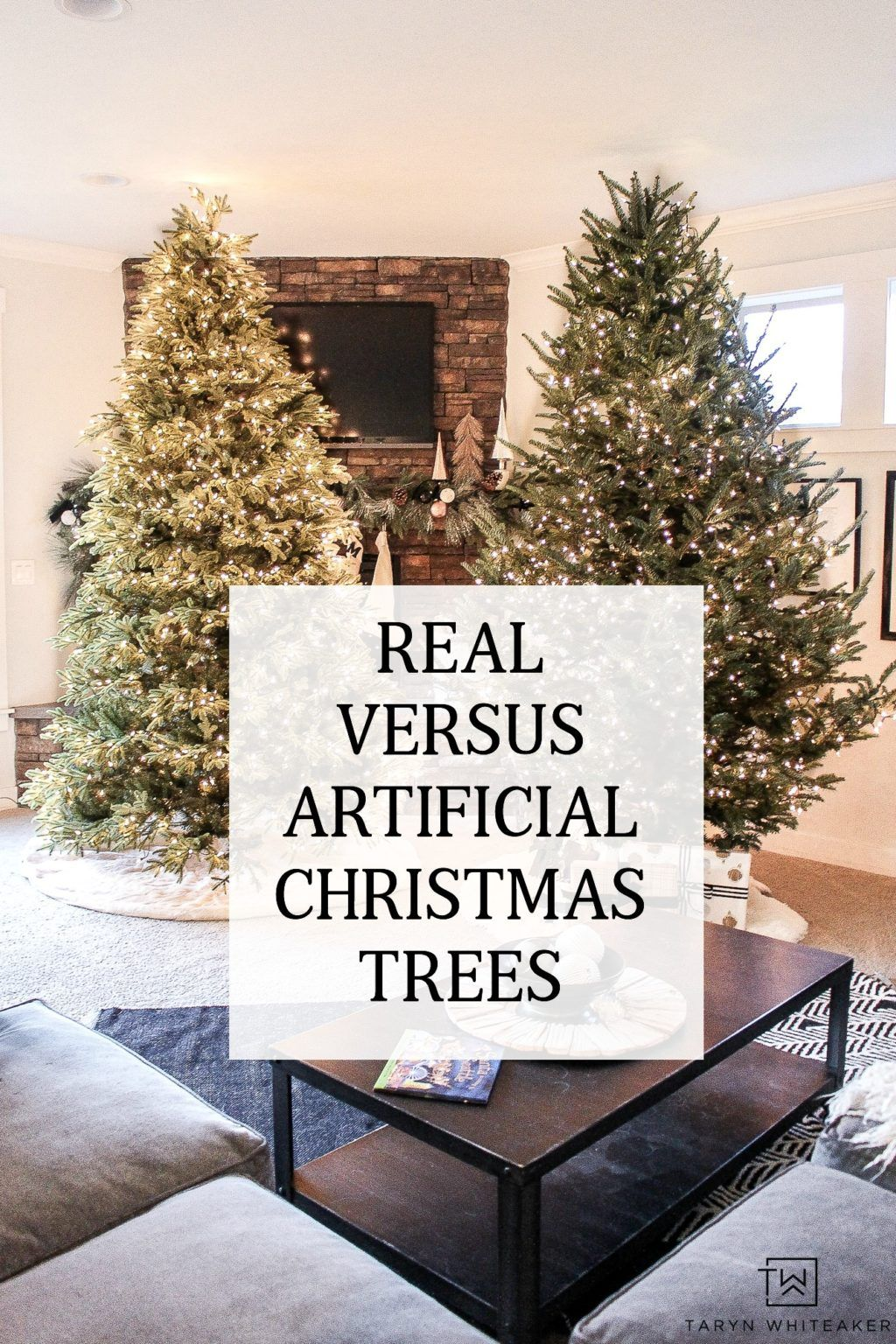 Real Versus Artificial Christmas Trees Taryn Whiteaker Artifical Christmas Tree Artificial Christmas Tree Shabby Chic Christmas Decorations