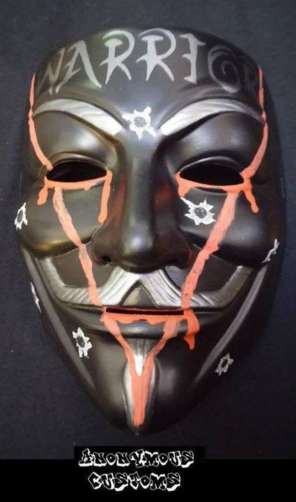 Anonymous Warrior With Vendetta Bullet Marks Custom Hand Painted