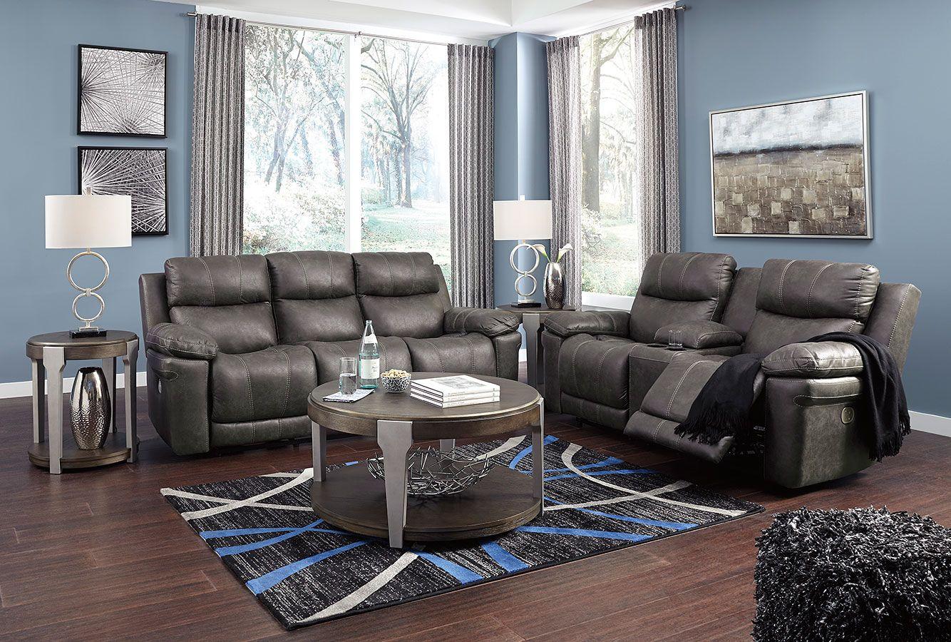 Erlangen Midnight Power Reclining Living Room Set W Adjustable