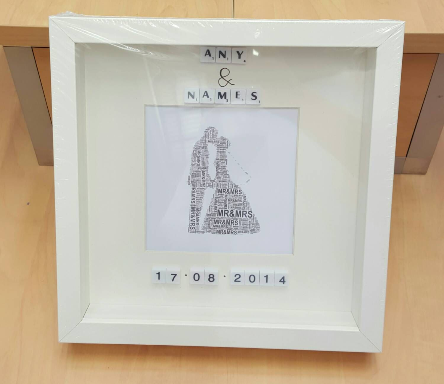 Personalised wedding gift display box frame lucky couple 1st dance ...