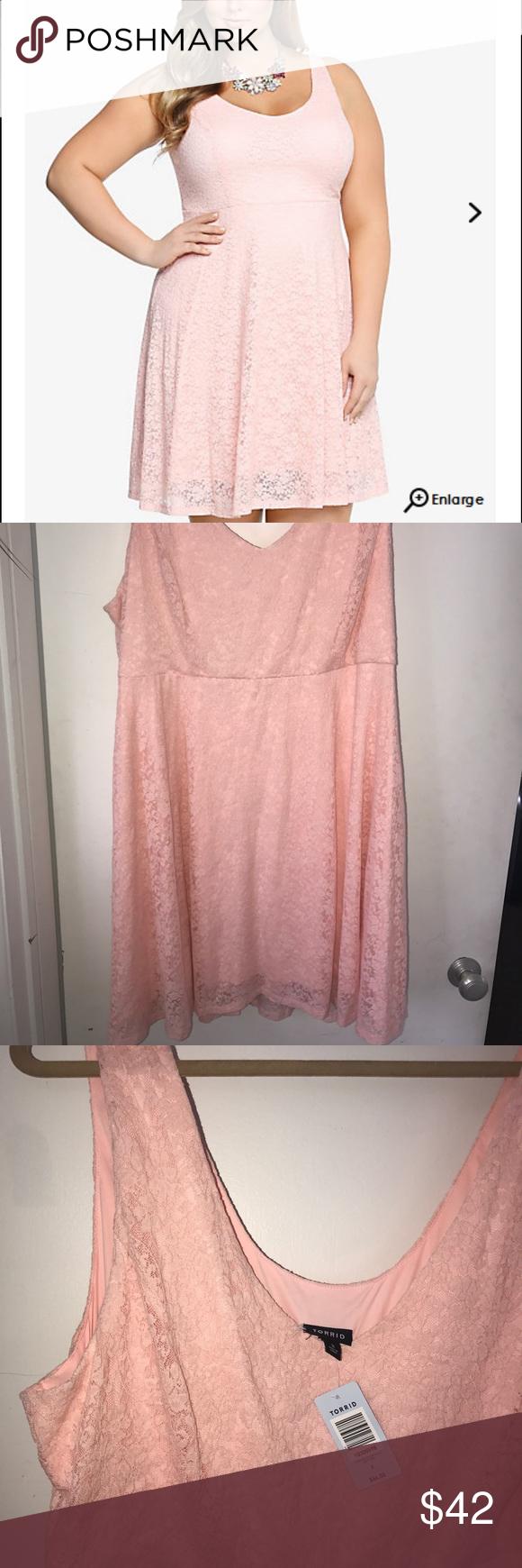 Torrid lace dress NWT soft pink lace tank dress torrid Dresses