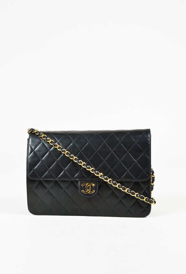 f0c5f97def484e VINTAGE Chanel Black Quilted Lambskin Leather
