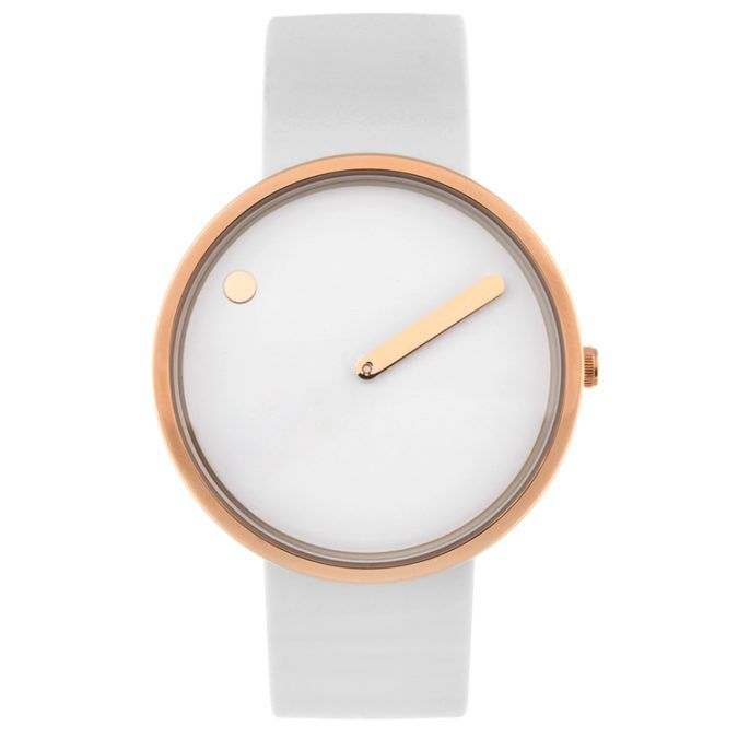Originally conceived in 1984 by Danish designers Steen Georg Christensen and Erling Andersen, the Picto is an attempt to capture a picture of time. #watches #rosegold #design