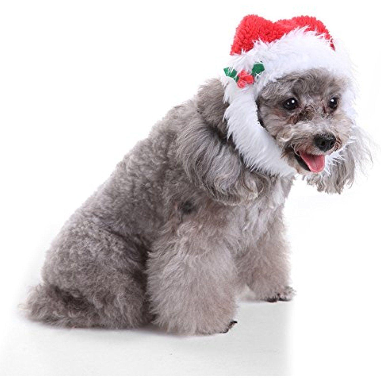 Powerfulline Lovely Pet Puppy Cat Christmas Hat Santa Beard Cap Dog