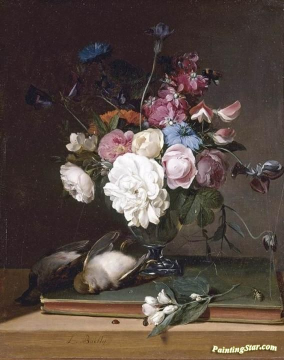 Still Life Of Flowers In A Glass Vase Artwork By Louis Leopold