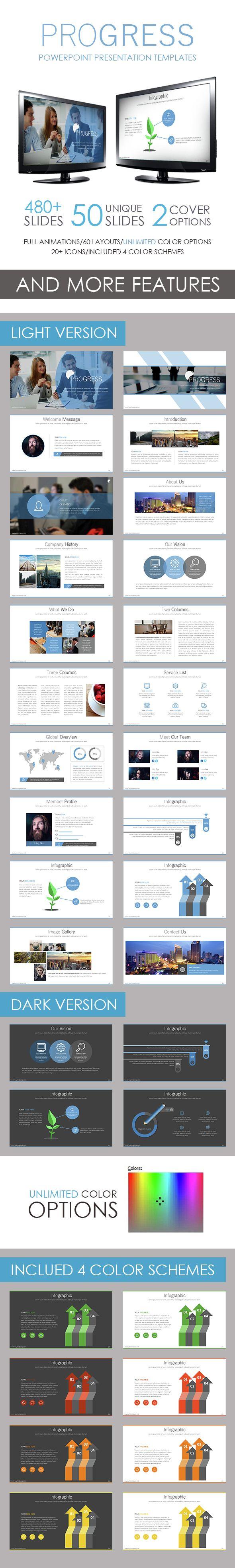 Progress PowerPoint Template Pinterest