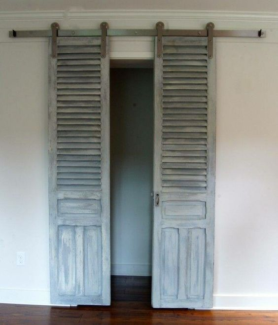 Separate Bendable Doors To Become Sliding Closet Doors Old Closet Doors Doors Old Shutters