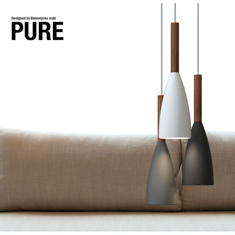 Suspension design en bois Lampe Pure Gris