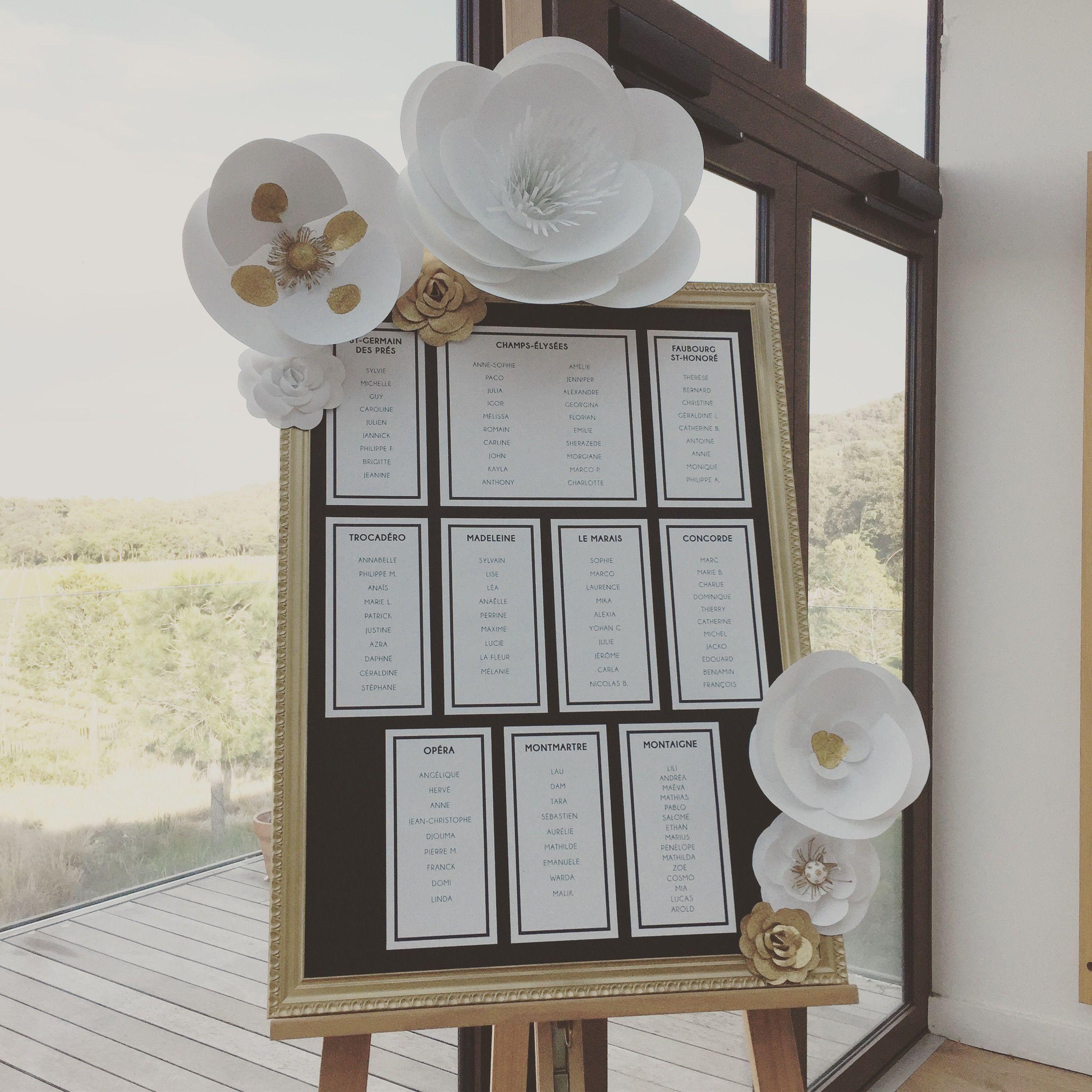 Plan de table gatsby avec fleurs en papier camélias coquelicot et autres par