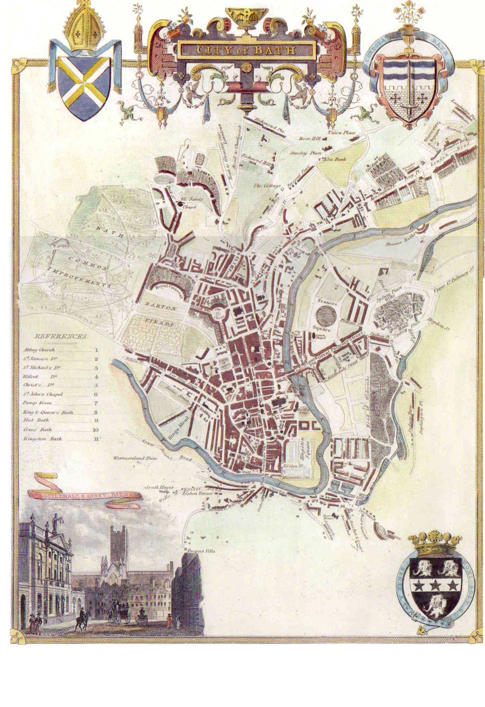 1836 map of Bath by Moule B A T H ENGLAND UK