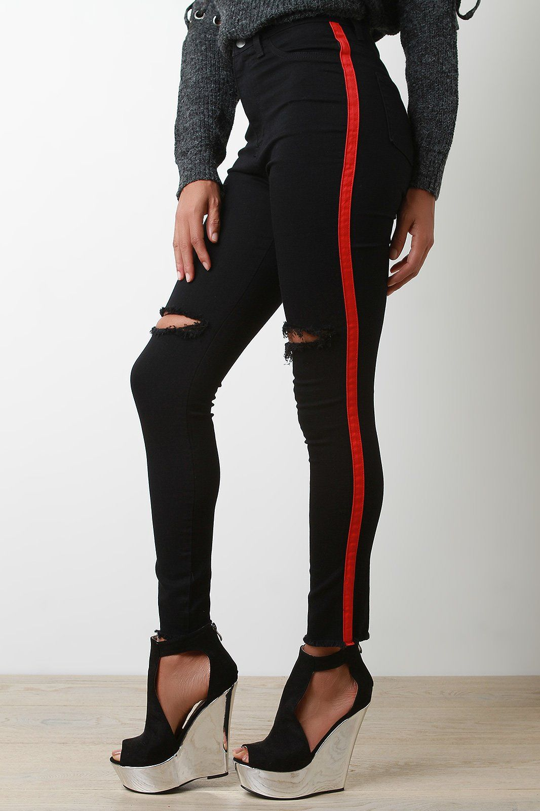 novel style good texture beautiful in colour These high waist jeans feature distressed stretch denim ...