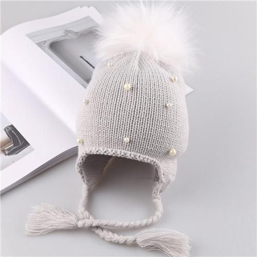 da9f6e1ed6e Puseky Baby Winter Hat Fur Pompom Caps bonnet enfant Toddler Boys Girls  Knitted Cap Cotton Protect Ears Hats Warm Kids Beanie-Grey S-  product id