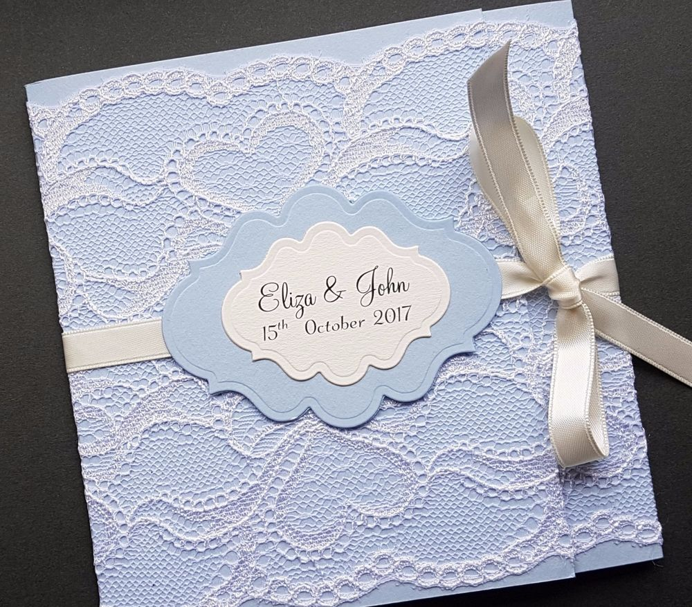 Handmade Rustic Lace Wrap Around Blue Pocketfold Wedding Invitation