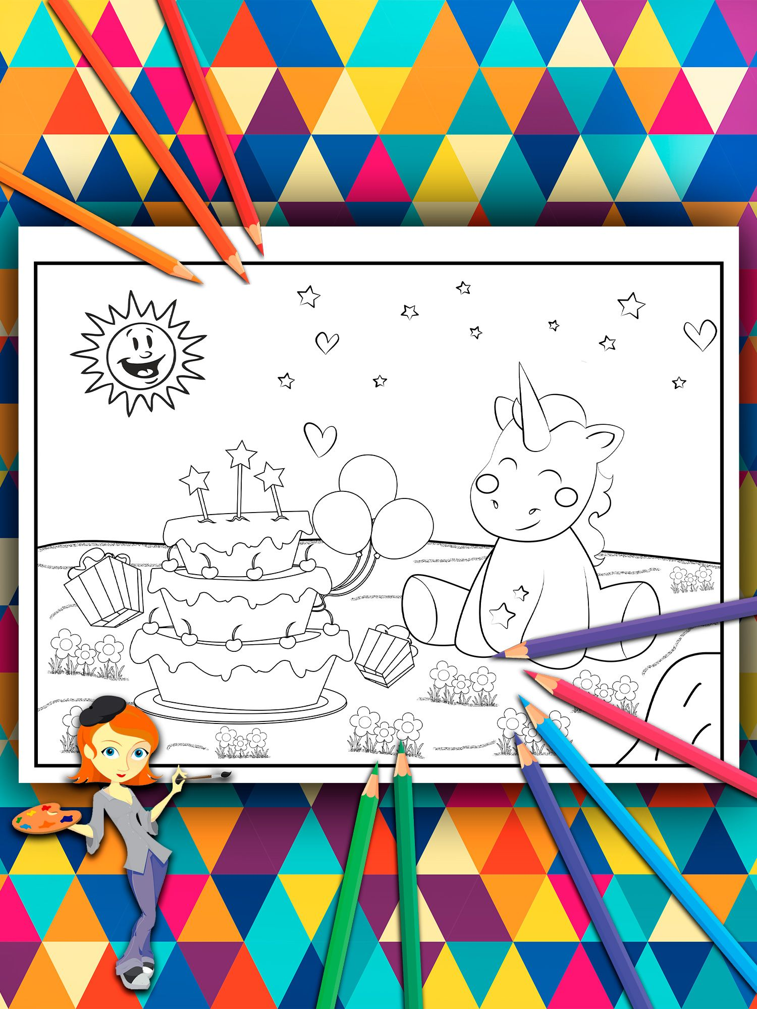 Coloring book for kids. Unicorn birthday with a great