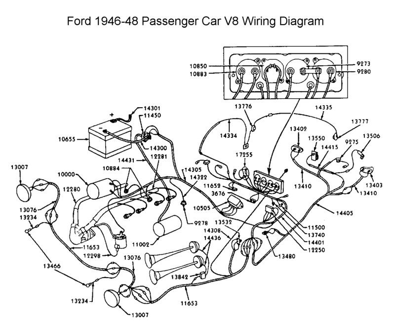 Wiring diagram for 1946-48 Ford