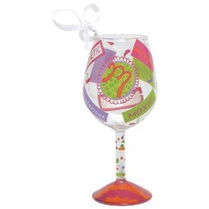 """Santa Barbara Studio ORN5-5515M Lolita Mini Wine Ornament - Letter M by Santa Barbara Studio. $16.95. Manufactured to the Highest Quality Available.. Design is stylish and innovative. Satisfaction Ensured.. Great Gift Idea.. Letter M.. Size: 3-1/2 Tall.. Lolita wine ornaments are hand-painted with some of Lolita's famous martini glass designs. Lolita wine ornaments come in a beautifully designed Lolita gift box with bow/ribbon and hang tag. Size: 3-1/2"""" Tall. Letter M."""
