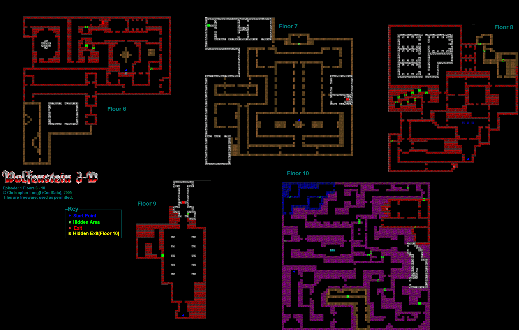 Wolfenstein 3D PC Episode 1 Floors 6 10 Maps by AWing Pilot