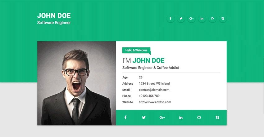 Resume Website Template  Best Html Resume Templates For Awesome