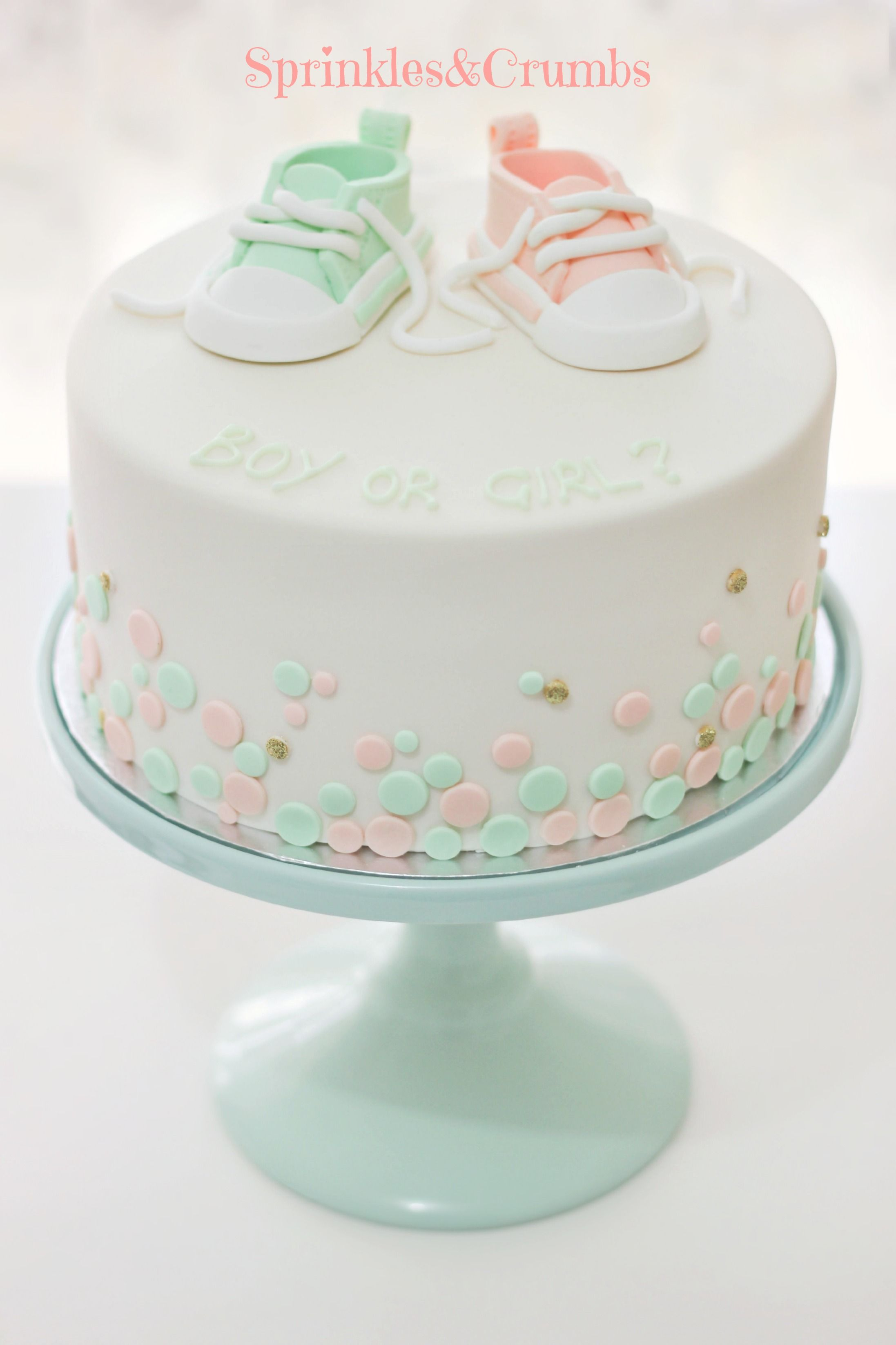 Mint peach and gold baby shower cake Is it a boy or girl cake