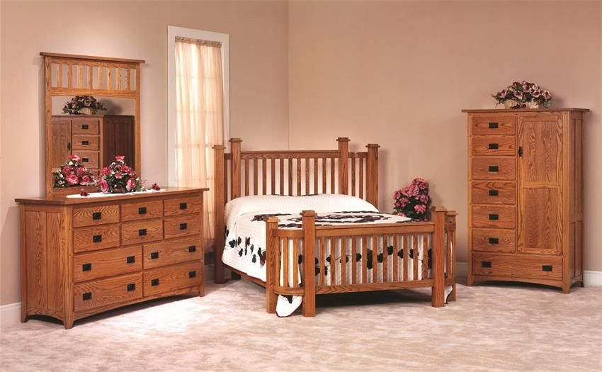 Amish Mission Deluxe Oak Wood Bedroom Furniture Set Made In Usa
