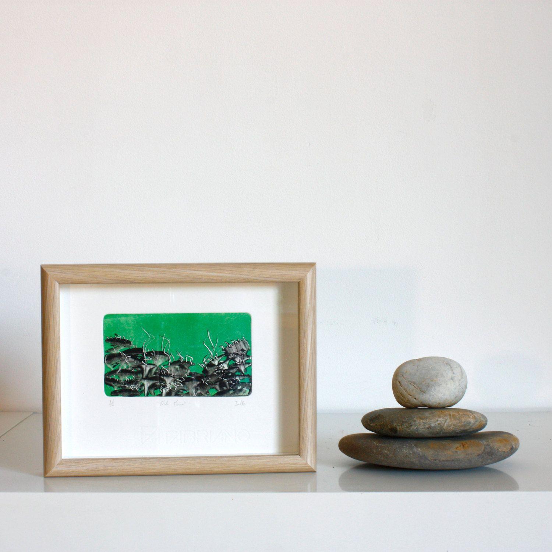 Láminas Monotipos originales. Marina verde y negra. Con Marco. 15x20 cm (interior 7x12 cm) de RainTreePrintmaking en Etsy