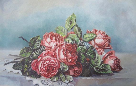 Print FREE SHIP  Pink Cabbage Roses Paul de by VictorianRosePrints, $11.99
