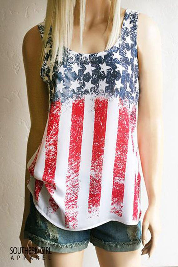 American Flag Red White Blue Patriotic Pride Tank Great For Any Music Festival Or Just Looking Cute Super Cute Fashion American Shirts American Flag Tank