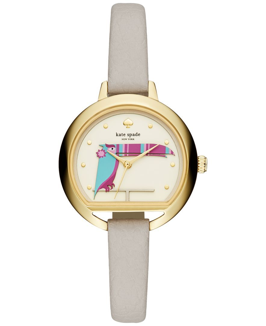 kate spade new york Women's Clocktower Gray Leather Strap Watch 34mm