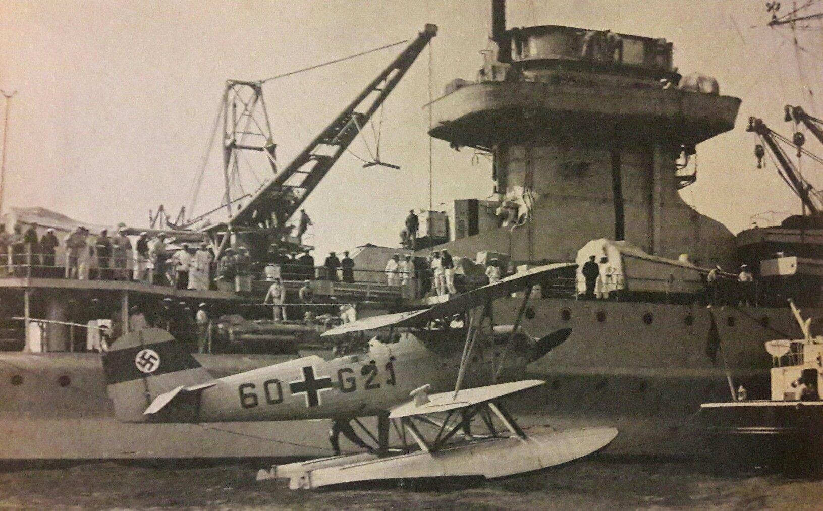 Nürenberg heinkel he 60 aan boord de kruiser nürenberg naval