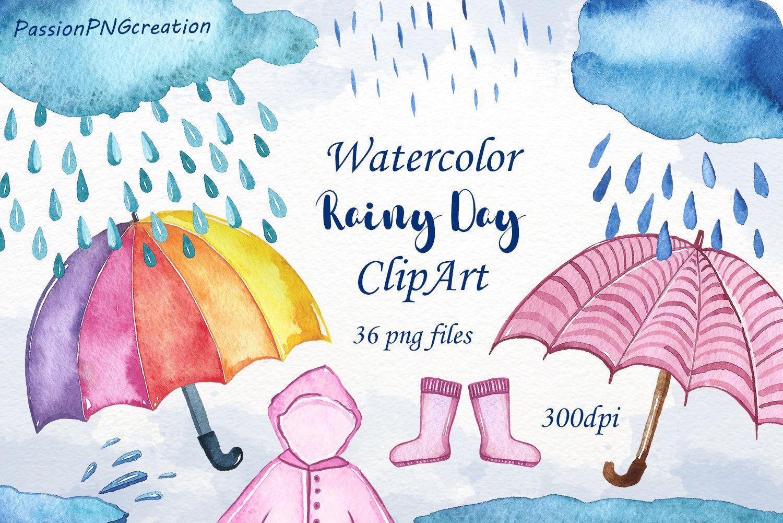 Watercolor Rainy Day Clipart Watercolor Rainy Day Clipart Etsy Clip Art Clip Art Borders Lotus Flower Art