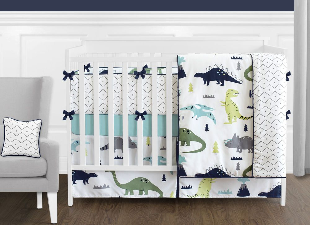Modern Navy Blue Gray White Lime Green Dinosaur Boys Girls