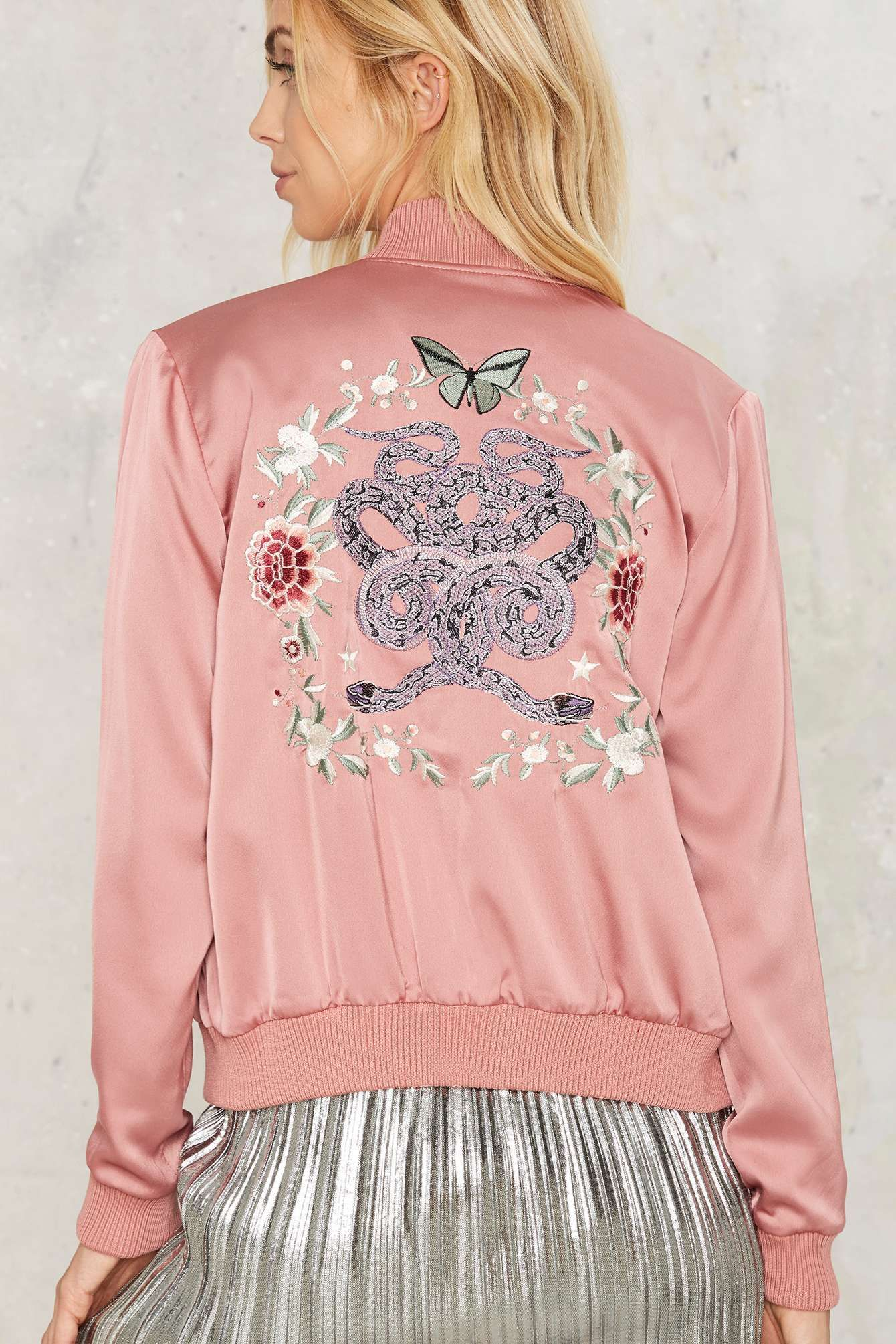 Nasty Gal Serpent Up Satin Bomber | Shop Clothes at Nasty Gal!