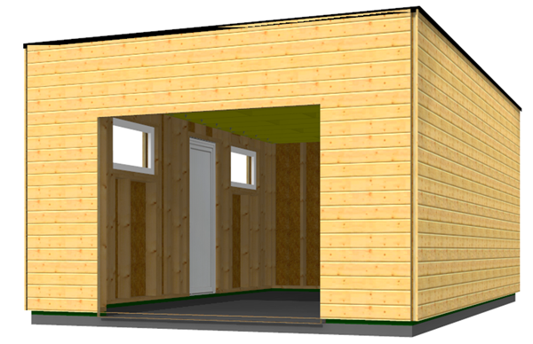 Garage En Bois Type Ossature Bois En Toit Plat Plans Bâtiment - Plan garage toit plat