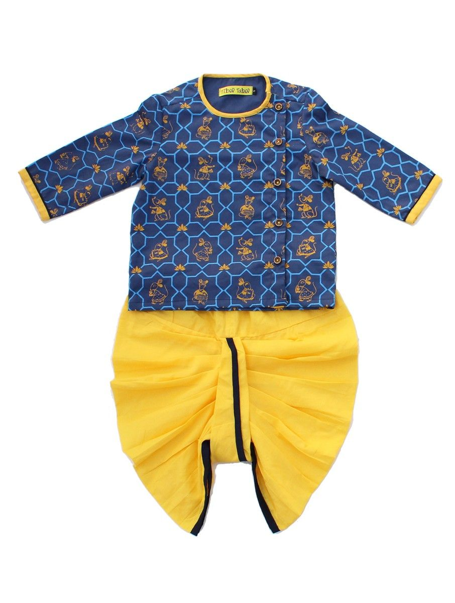 df1831c205857 Buy Blue Yellow Mouse Print Cotton Kurta and Elasticated Tie up Waist Dhoti  100% Kids Indian wear Online at Jaypore.com