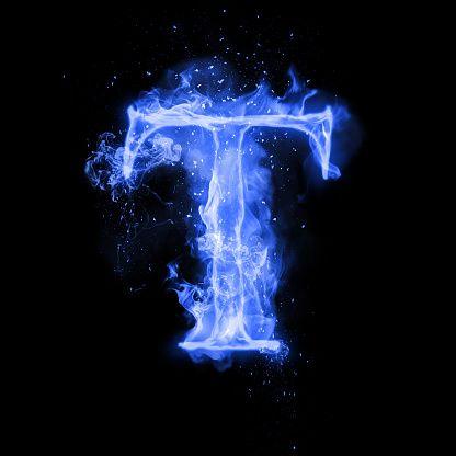 Fire letter T of burning blue flame. Flaming burn font or ...