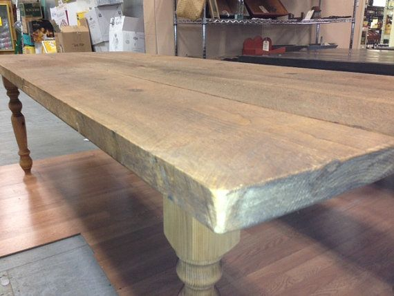 Attractive Farm Table 8 Foot 2 Inch Thick Wide Board Waxed Plank Pine FarmTable With  Saw Marks