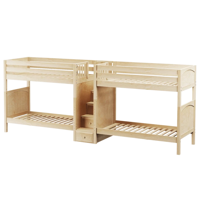 Twin High Quadruple Bunk Bed with Stairs en 2020 Literas