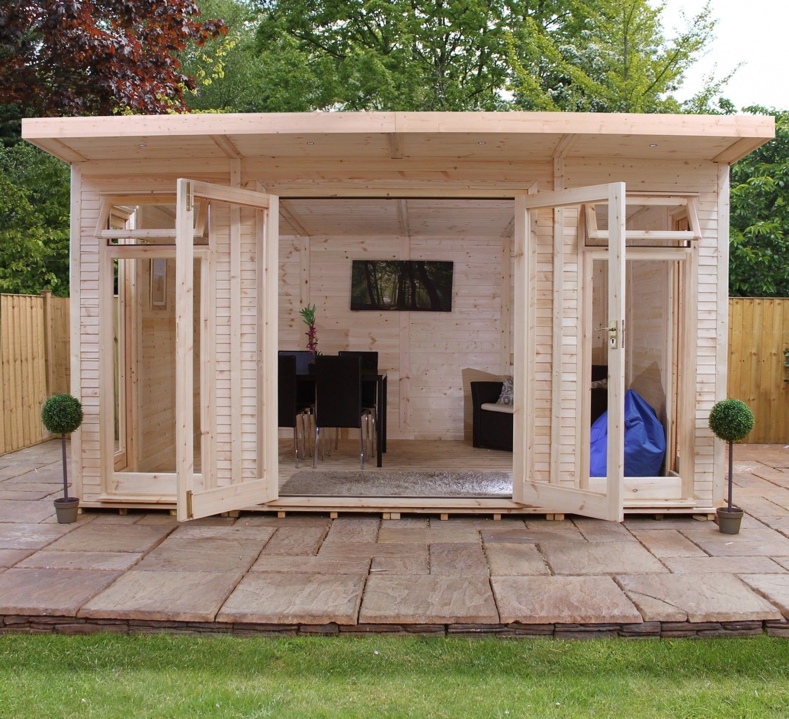 5m x 3m wooden log cabin insulated shiplap garden room