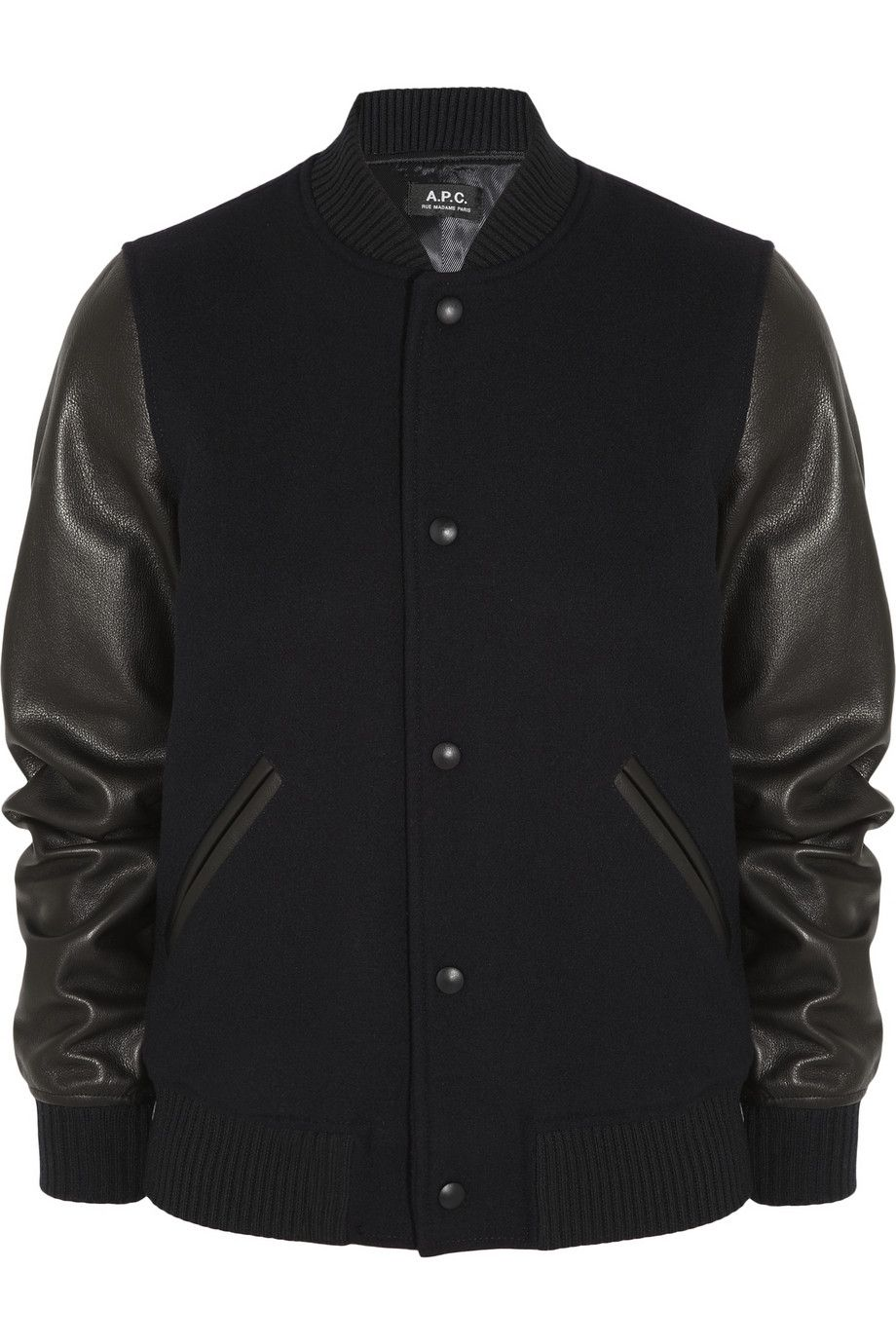 Black Leather And Wool Blend Bomber Jacket A P C Atelier De Production Et De Creation [ 1380 x 920 Pixel ]