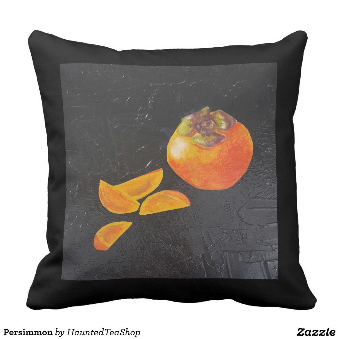 Persimmon pillow inspired by Japanese block prints.