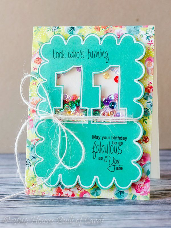 Cute shaker box card idea.  Could use Cricut to cut out numbers or letters and then apply a window sheet behind.  Might even use for a graduation announcement and confetti.